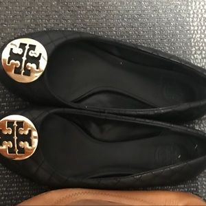 Tory Burch Quilted Flats with Gold detail